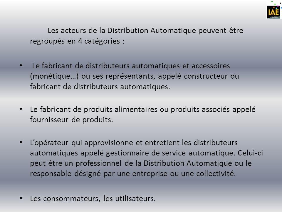 Les acteurs de la Distribution Automatique peuvent être regroupés en 4 catégories :