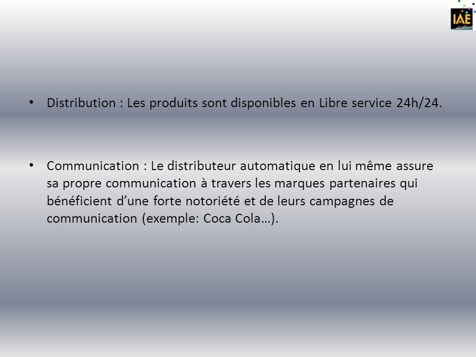 Distribution : Les produits sont disponibles en Libre service 24h/24.