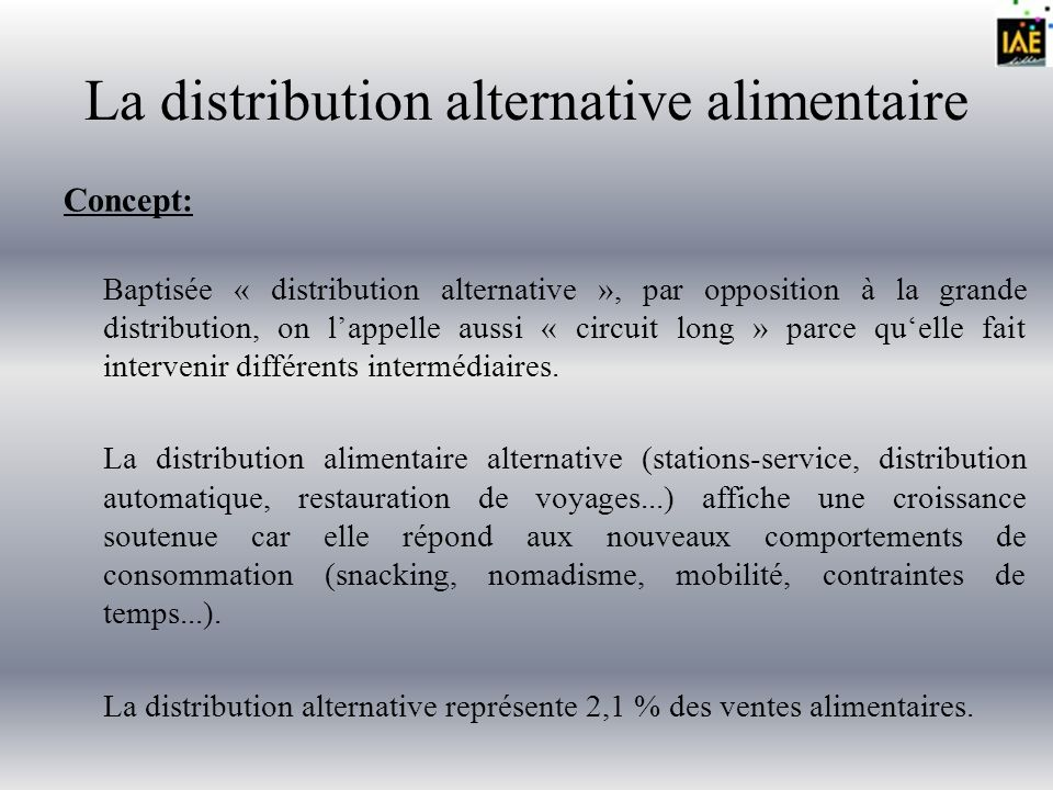 La distribution alternative alimentaire