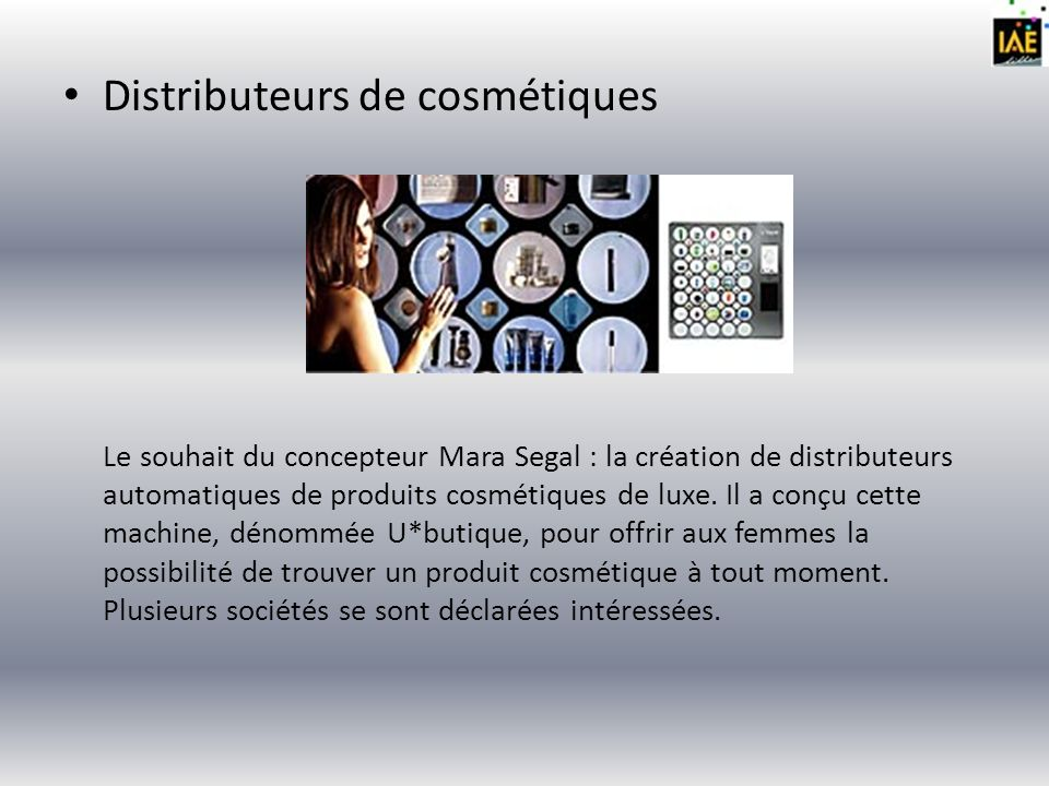 Distributeurs de cosmétiques