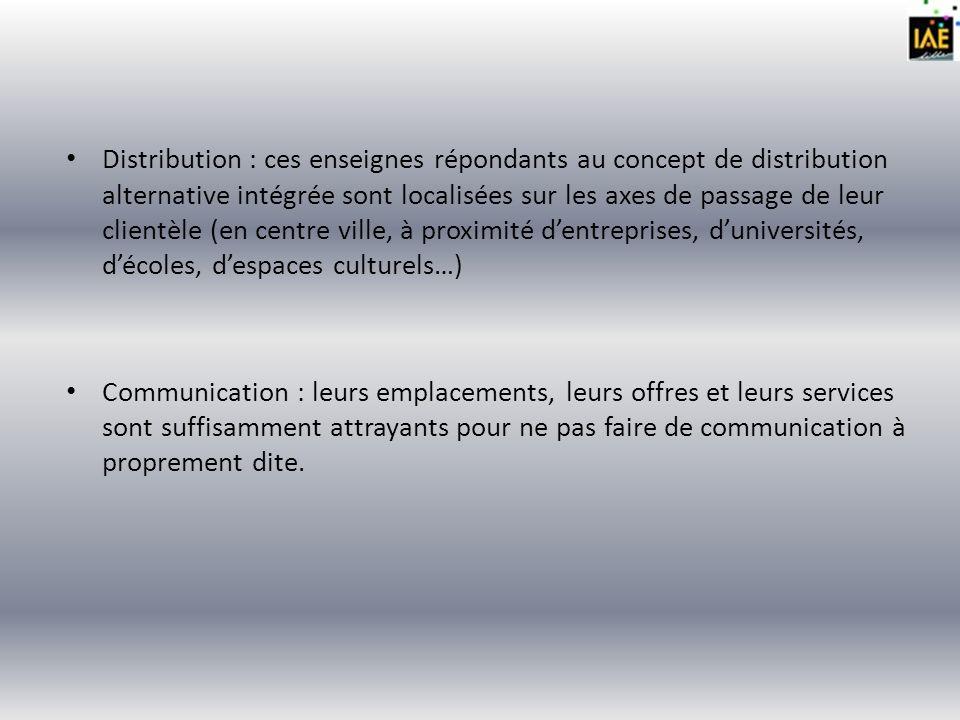 Distribution : ces enseignes répondants au concept de distribution alternative intégrée sont localisées sur les axes de passage de leur clientèle (en centre ville, à proximité d'entreprises, d'universités, d'écoles, d'espaces culturels…)