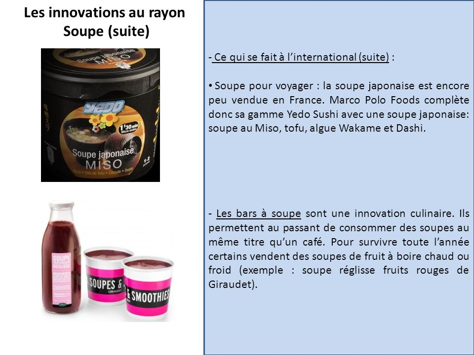 Les innovations au rayon