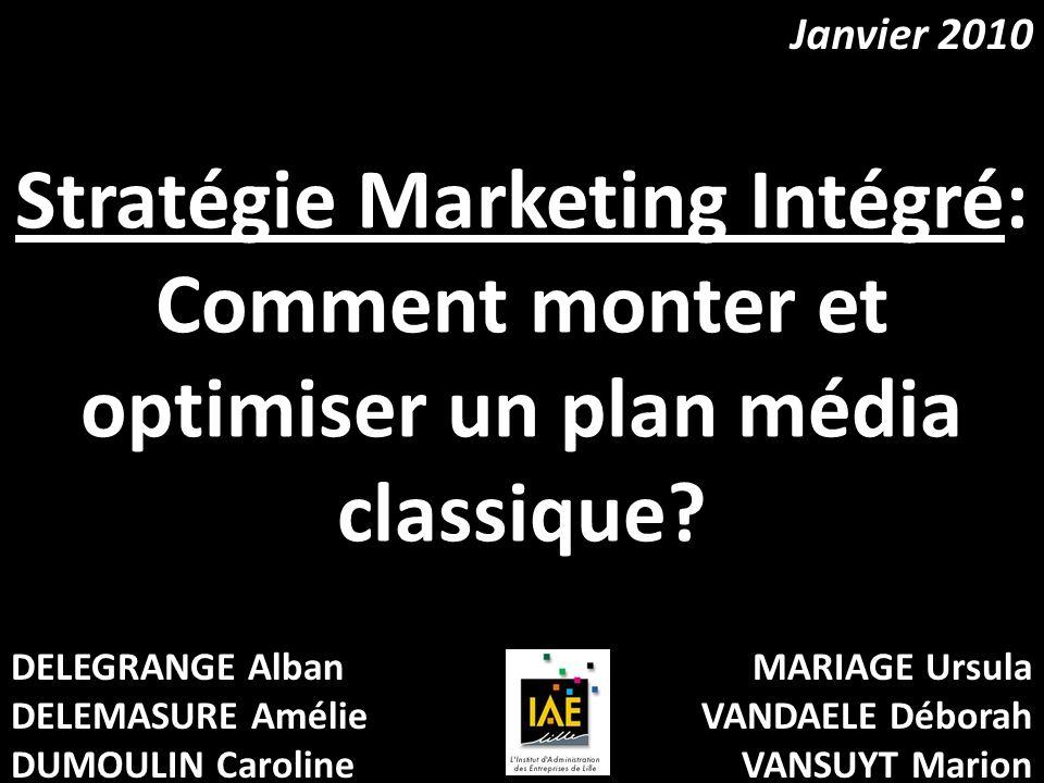 Janvier 2010 Stratégie Marketing Intégré: Comment monter et optimiser un plan média classique DELEGRANGE Alban.