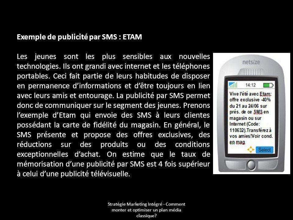Exemple de publicité par SMS : ETAM