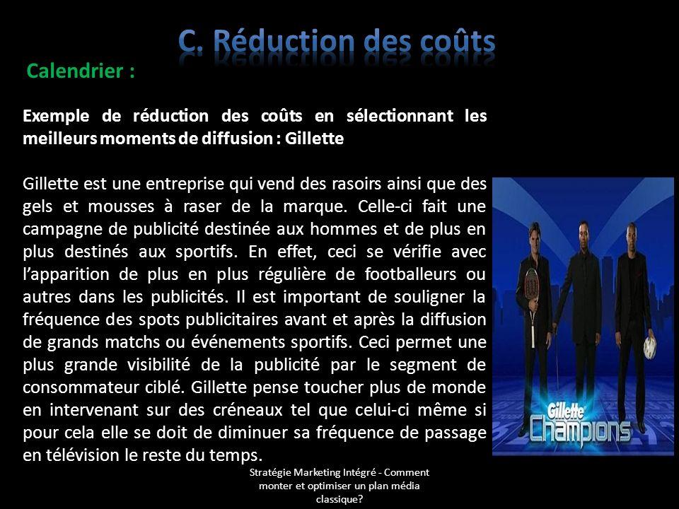 C. Réduction des coûts Calendrier : Exemple de réduction des coûts en sélectionnant les meilleurs moments de diffusion : Gillette.