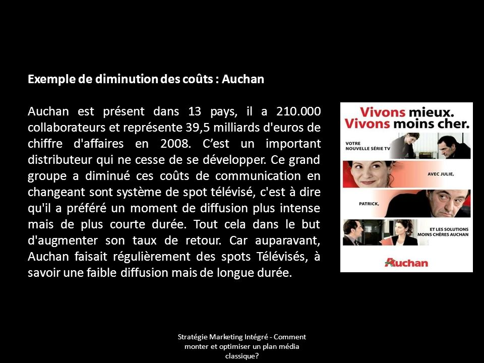 Exemple de diminution des coûts : Auchan