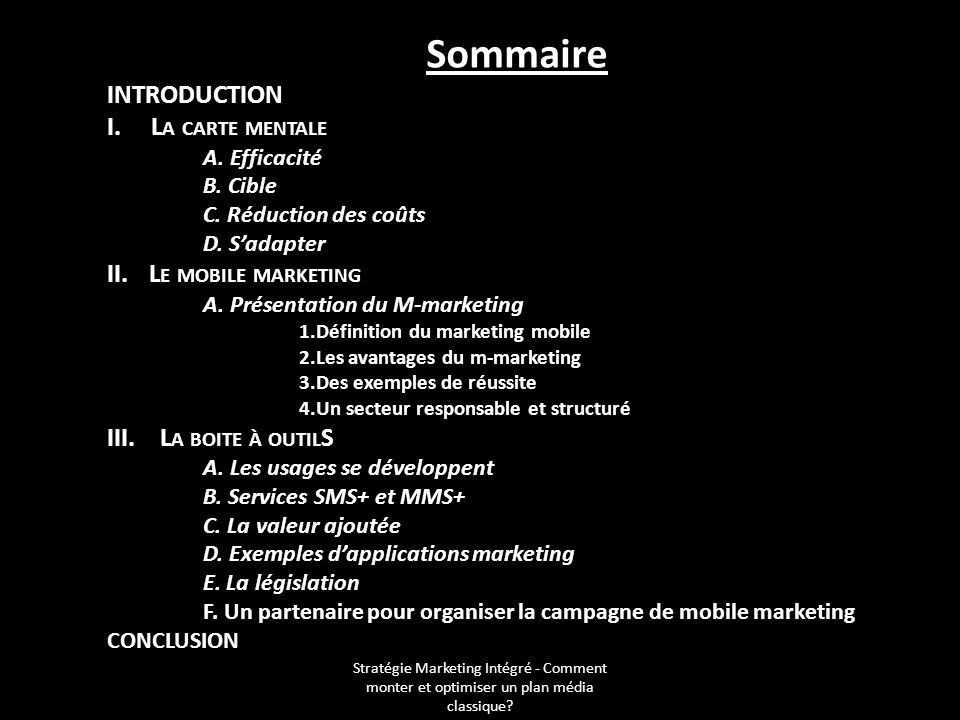 Sommaire Introduction I. La carte mentale Le mobile marketing