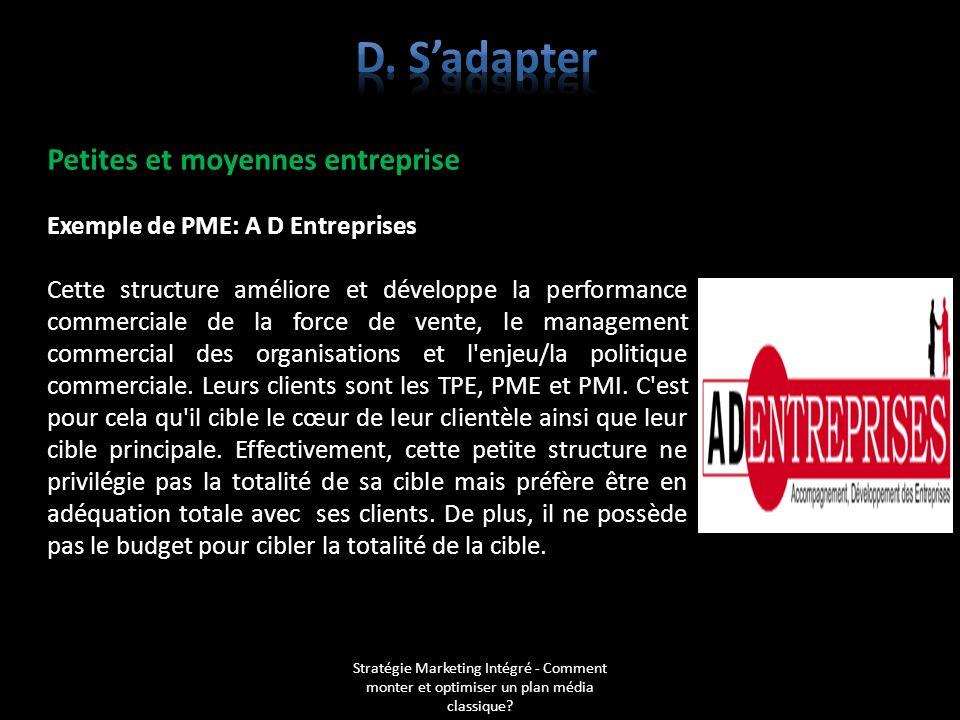 d. S'adapter Petites et moyennes entreprise