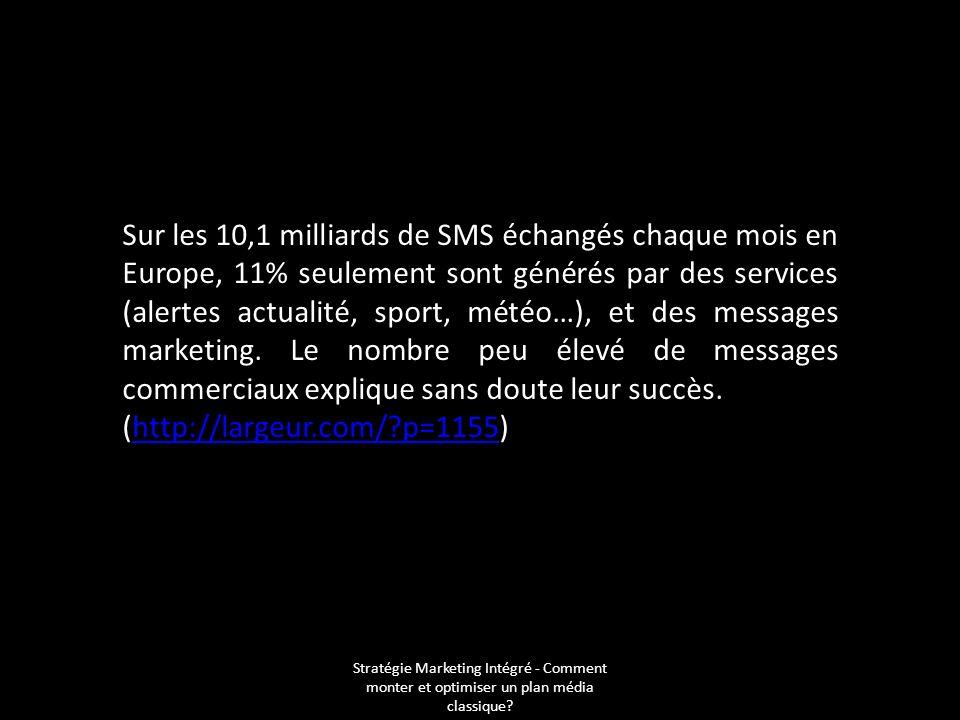 Sur les 10,1 milliards de SMS échangés chaque mois en Europe, 11% seulement sont générés par des services (alertes actualité, sport, météo…), et des messages marketing. Le nombre peu élevé de messages commerciaux explique sans doute leur succès.