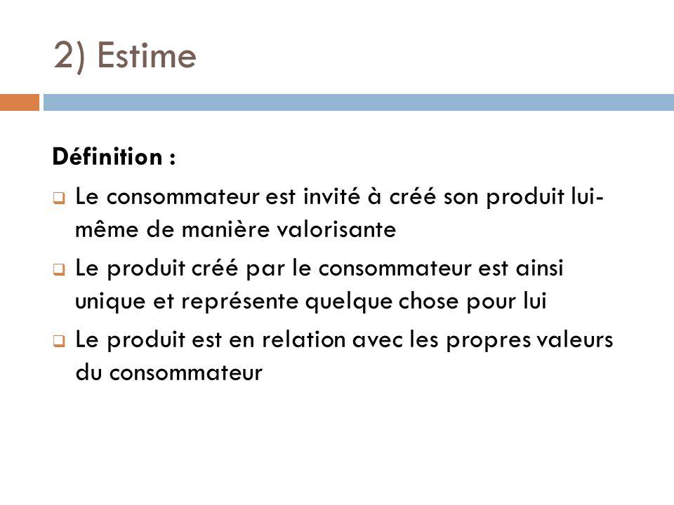 2) Estime Définition : Le consommateur est invité à créé son produit lui- même de manière valorisante.
