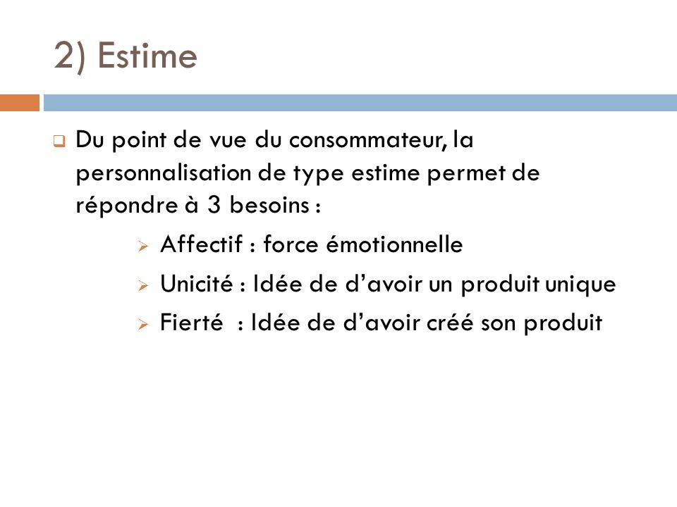 2) Estime Du point de vue du consommateur, la personnalisation de type estime permet de répondre à 3 besoins :