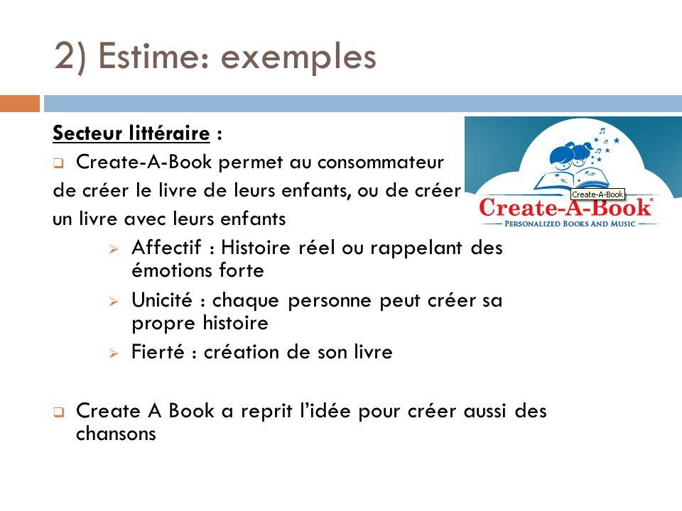 2) Estime: exemples Secteur littéraire :