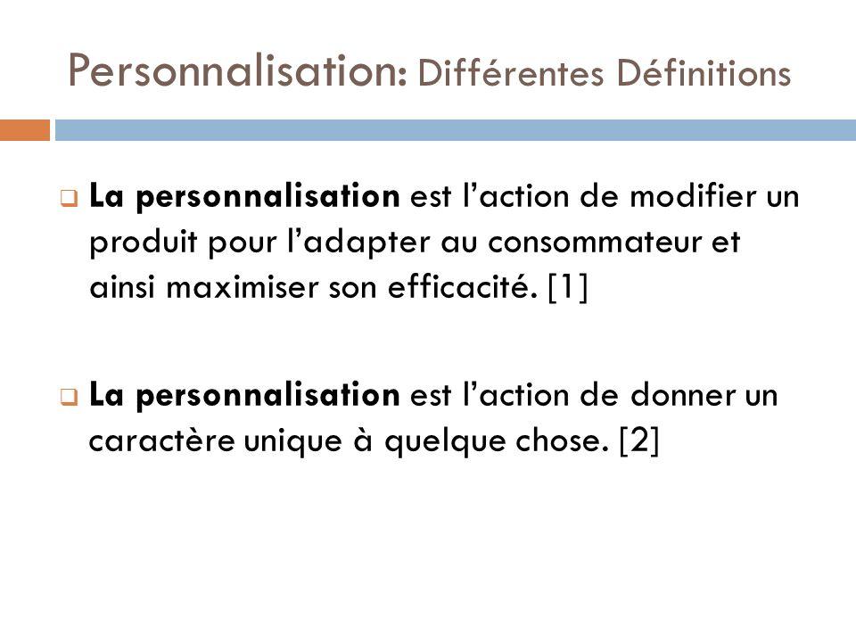 Personnalisation: Différentes Définitions