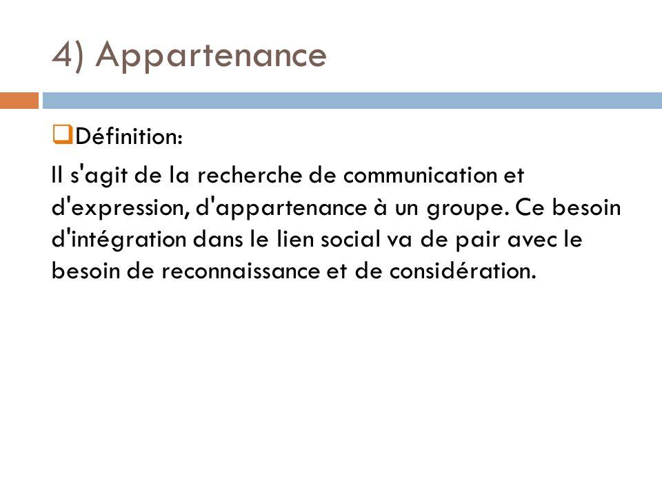 4) Appartenance Définition: