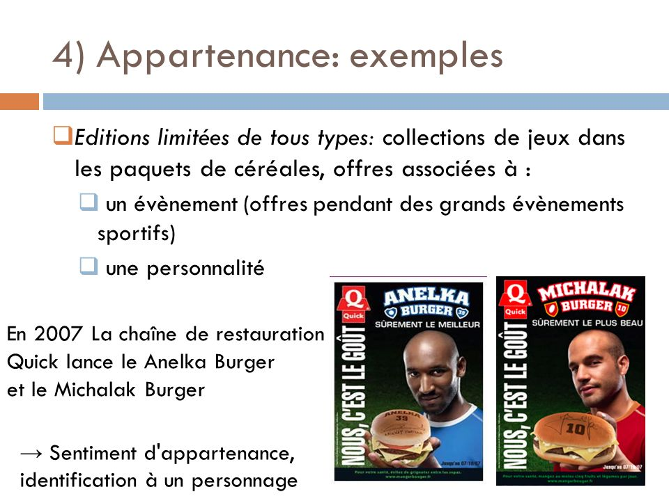 4) Appartenance: exemples