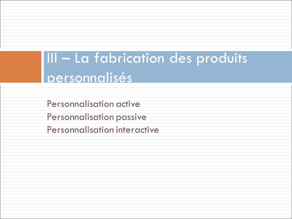 III – La fabrication des produits personnalisés