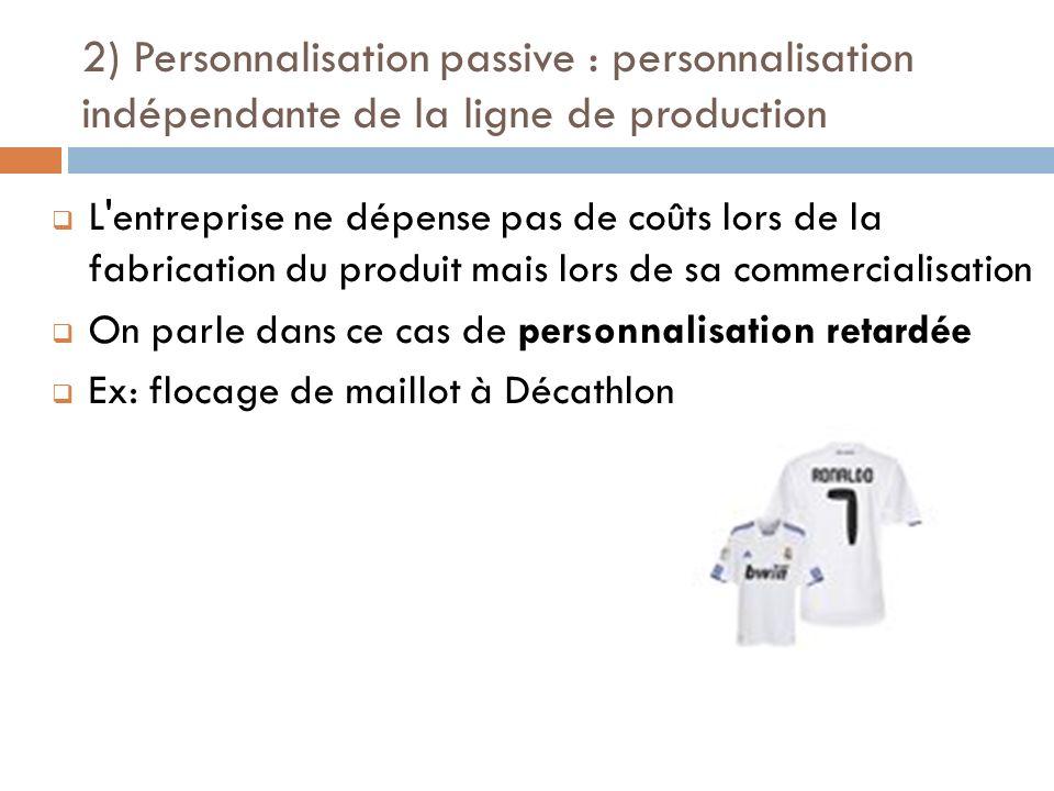 2) Personnalisation passive : personnalisation indépendante de la ligne de production