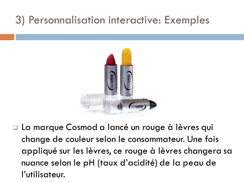 3) Personnalisation interactive: Exemples