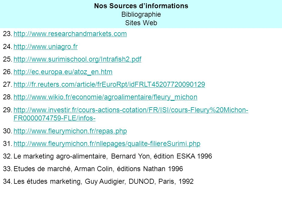 Nos Sources d'informations Bibliographie Sites Web