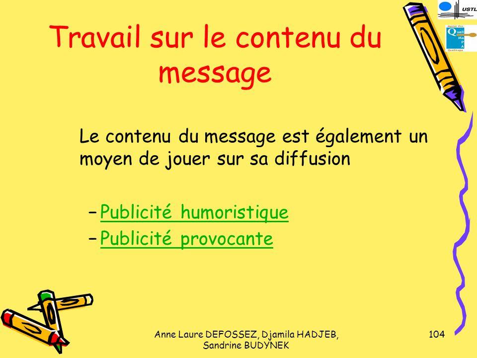 Travail sur le contenu du message