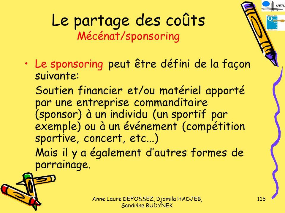 Le partage des coûts Mécénat/sponsoring