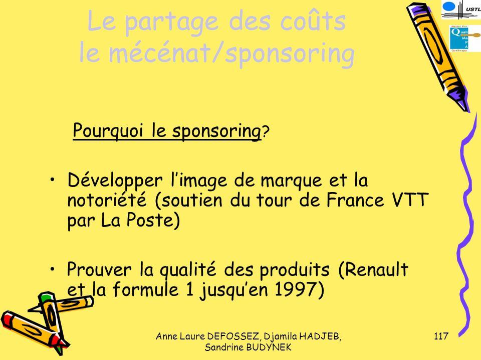 Le partage des coûts le mécénat/sponsoring