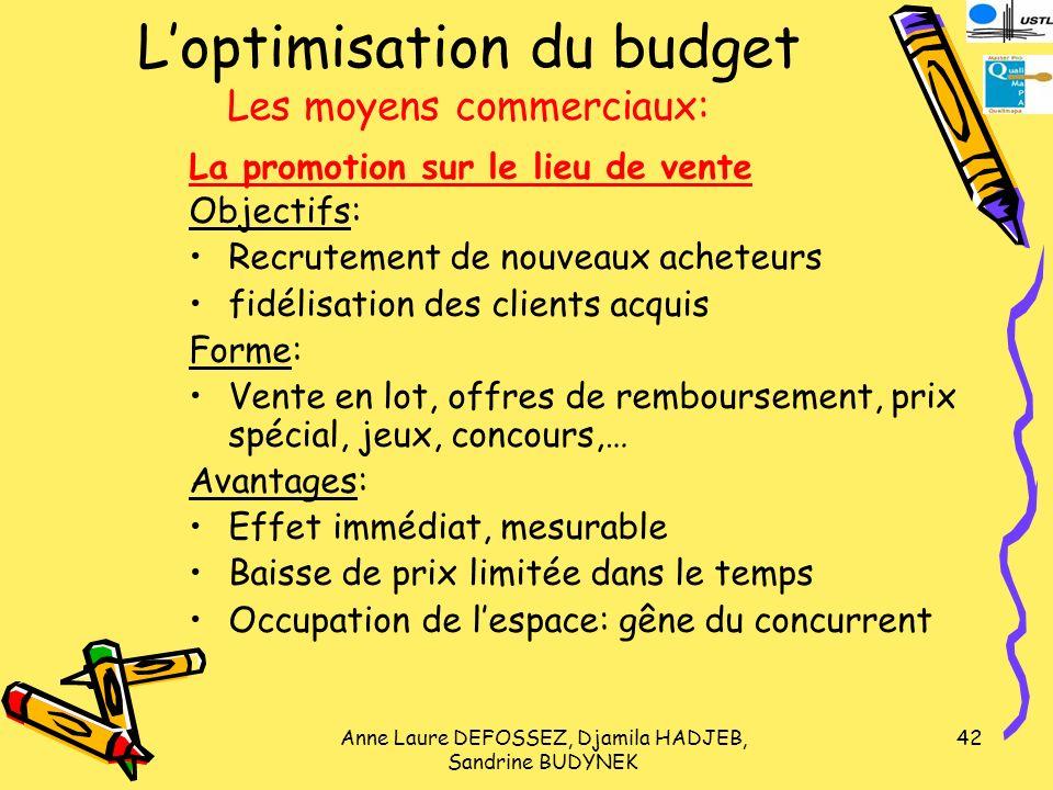 L'optimisation du budget Les moyens commerciaux: