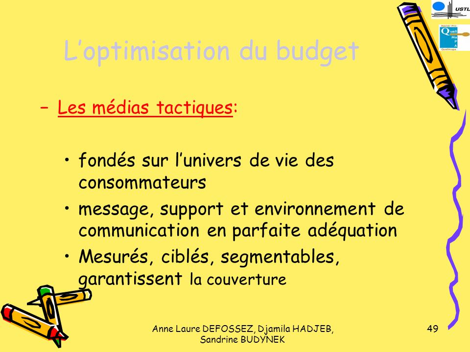 L'optimisation du budget
