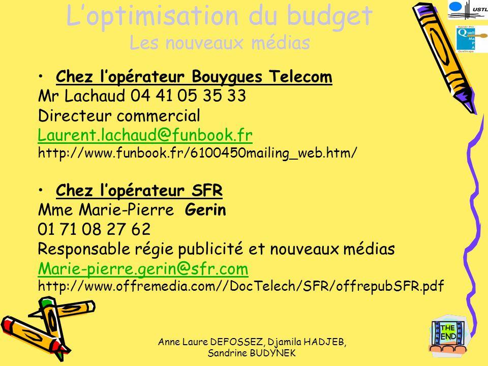 L'optimisation du budget Les nouveaux médias