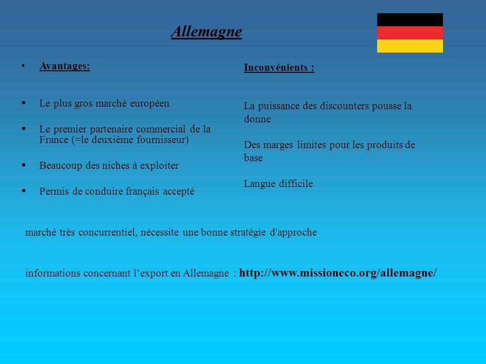 Allemagne Avantages: Inconvénients : Le plus gros marché européen