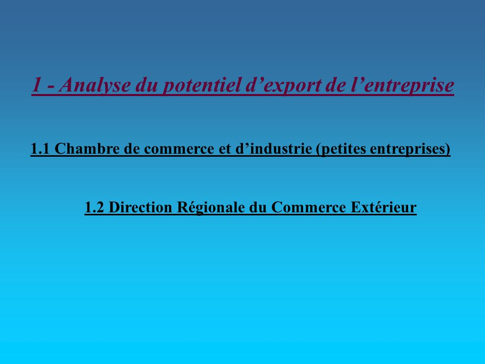 1 - Analyse du potentiel d'export de l'entreprise