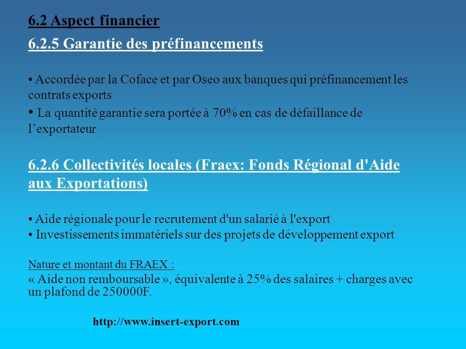 6.2.5 Garantie des préfinancements