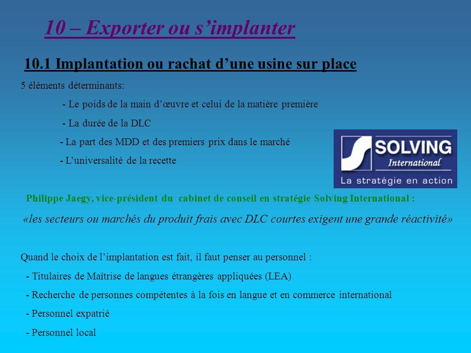 10 – Exporter ou s'implanter