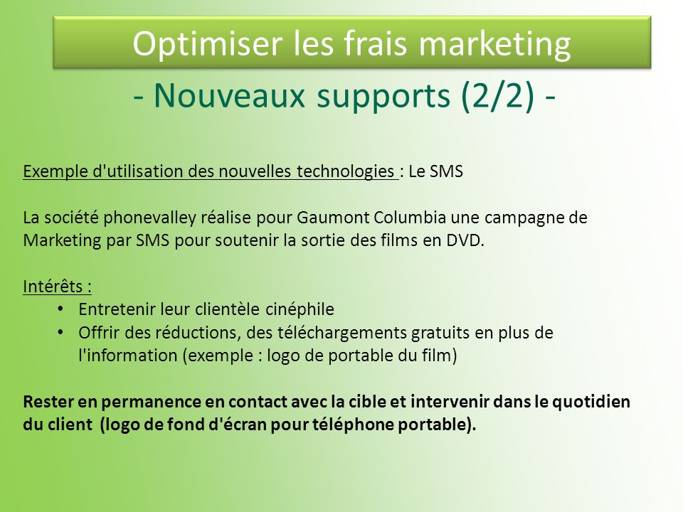 Optimiser les frais marketing