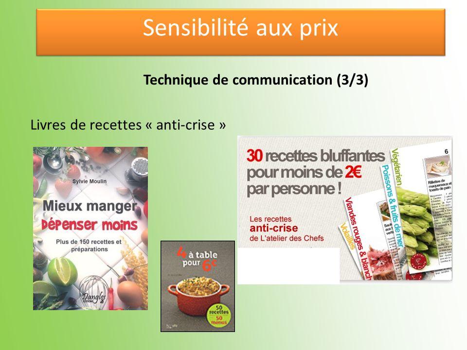 Sensibilité aux prix Technique de communication (3/3)