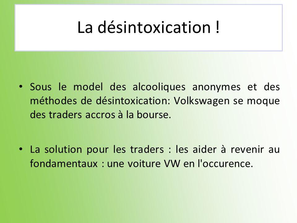 La désintoxication !Sous le model des alcooliques anonymes et des méthodes de désintoxication: Volkswagen se moque des traders accros à la bourse.
