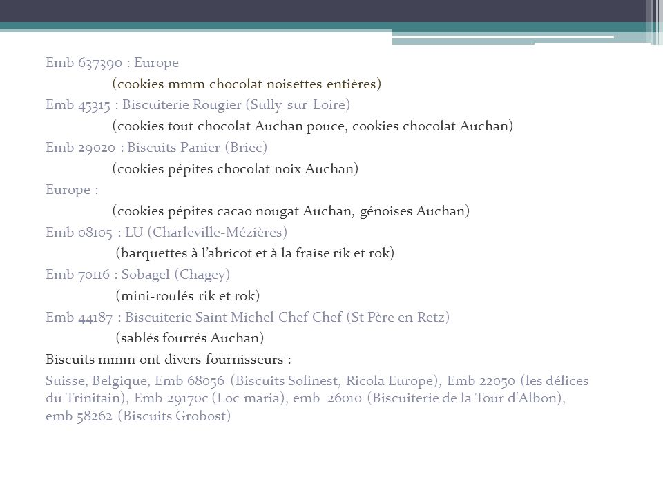 Emb 637390 : Europe(cookies mmm chocolat noisettes entières) Emb 45315 : Biscuiterie Rougier (Sully-sur-Loire)