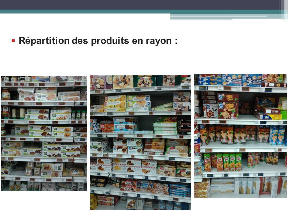 Répartition des produits en rayon :