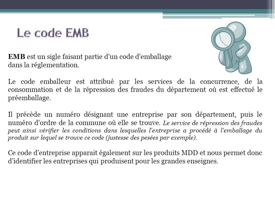 Le code EMB EMB est un sigle faisant partie d un code d emballage