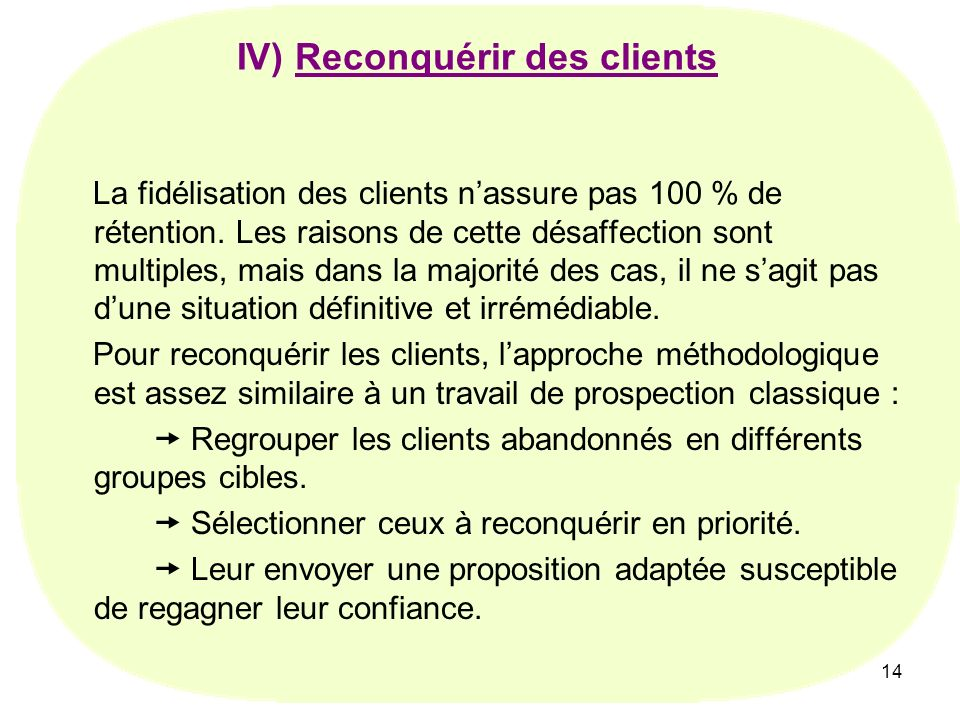 IV) Reconquérir des clients