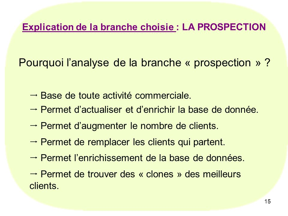 Explication de la branche choisie : LA PROSPECTION