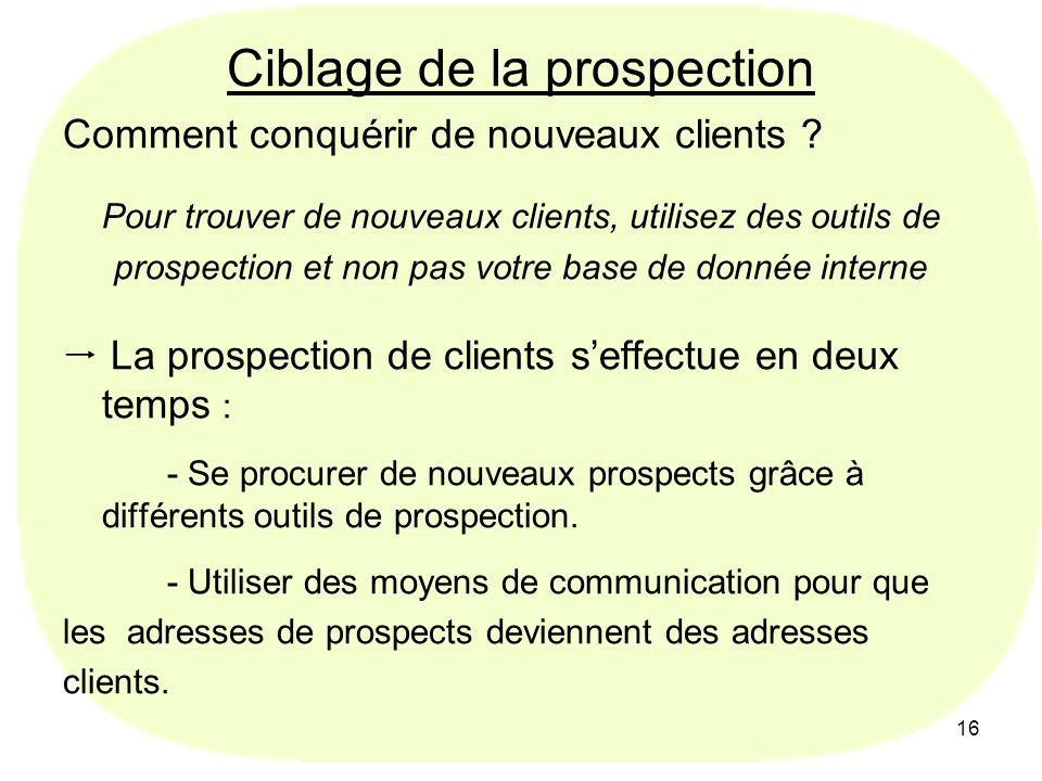 Ciblage de la prospection