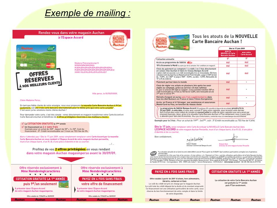 Exemple de mailing : Master 1 - Marketing vente - 2009/2010