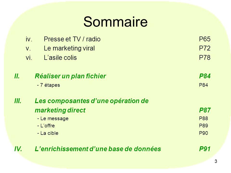 Sommaire Presse et TV / radio P65 Le marketing viral P72