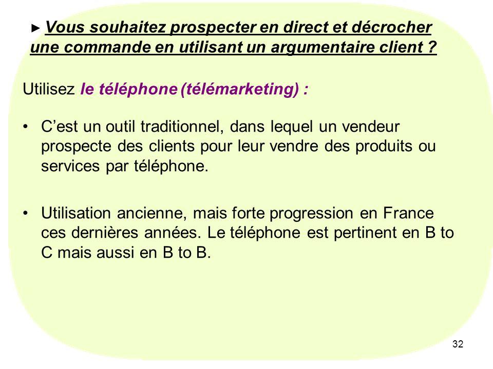 Utilisez le téléphone (télémarketing) :