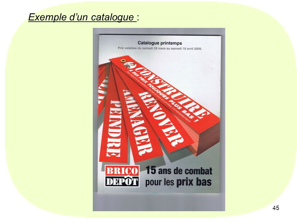 Exemple d'un catalogue :