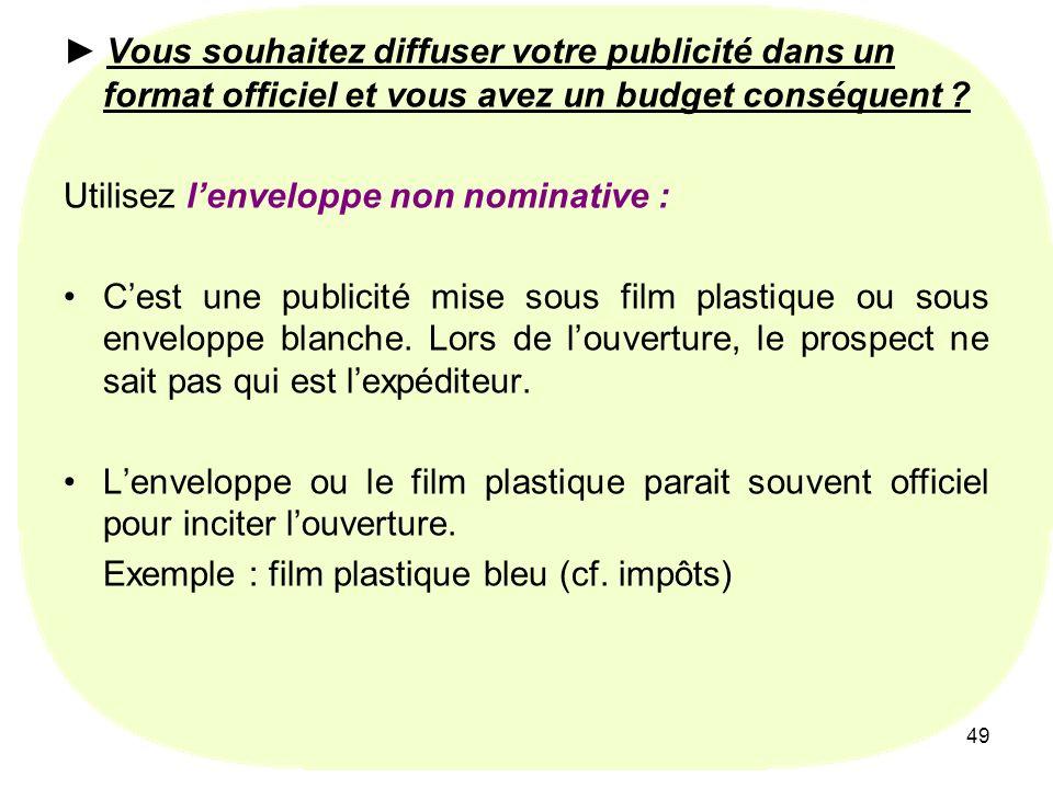 Utilisez l'enveloppe non nominative :