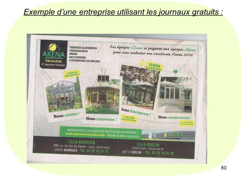 Exemple d'une entreprise utilisant les journaux gratuits :