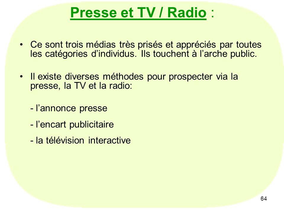 Presse et TV / Radio : Ce sont trois médias très prisés et appréciés par toutes les catégories d'individus. Ils touchent à l'arche public.