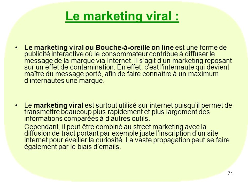 Le marketing viral :
